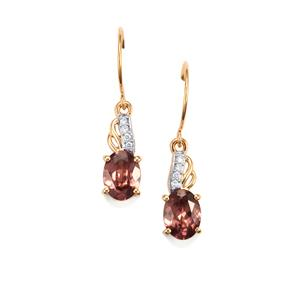 Zanzibar Zircon Earrings with Diamond in 18K Gold 3.51cts