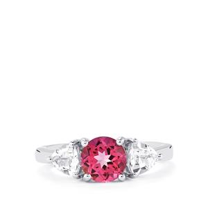 Mystic Pink Topaz Ring with White Topaz in Sterling Silver 2.53cts