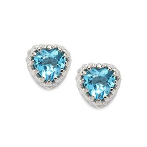 1.18ct Swiss Blue Topaz Sterling Silver Earrings
