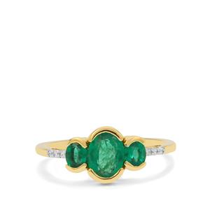 Zambian Emerald Ring with White Zircon in 9K Gold 1.15cts