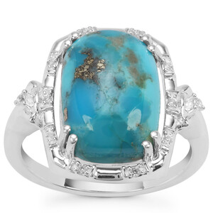 Bonita Blue Turquoise Ring with White Zircon in Sterling Silver 6.40cts