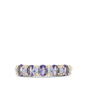AA Tanzanite Ring with White Zircon in 9K Gold 0.90ct
