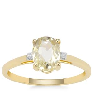 Minas Novas Hiddenite Ring with Diamond in 9K Gold 1.63cts