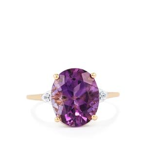 Moroccan Amethyst & White Zircon 9K Gold Ring ATGW 4.13cts