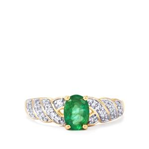 Bahia Emerald Ring with White Zircon in 10K Gold 0.85ct