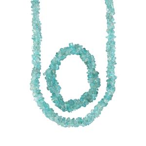 Madagascan Blue Apatite Set of Nugget Bead Necklace with Stretchable Rope Bracelet 550cts