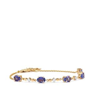 AA Tanzanite Bracelet with Diamond in 18K Gold 3cts
