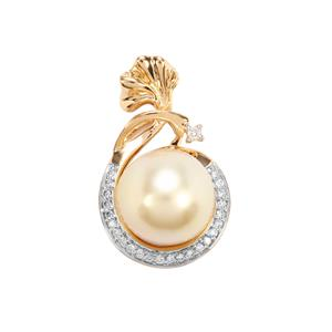 Golden South Sea Cultured Pearl Pendant with Diamond in 18K Gold (11.30mm)