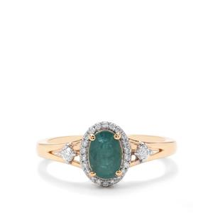 Grandidierite Ring with Diamond in 18K Gold 0.90ct