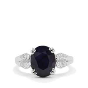 Madagascan Blue Sapphire Ring with White Zircon in Sterling Silver 4.43cts