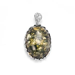 Baltic Green Amber Pendant in Sterling Silver (30 x 22mm)