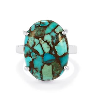 Egyptian Turquoise Ring in Sterling Silver 13.64cts