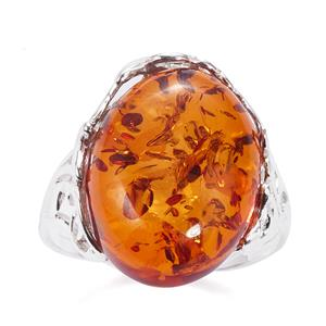 Baltic Cognac Amber Ring  in Sterling Silver (18x13mm)