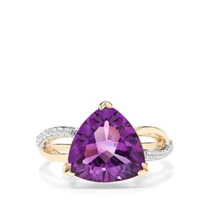 Moroccan Amethyst & White Zircon 9K Gold Ring ATGW 4.78cts