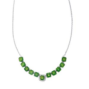 Fern Green Quartz & White Topaz Sterling Silver Asscher Cut Necklace ATGW 11.93cts