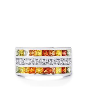 Rainbow Sapphire & White Zircon Sterling Silver Ring ATGW 2.91cts