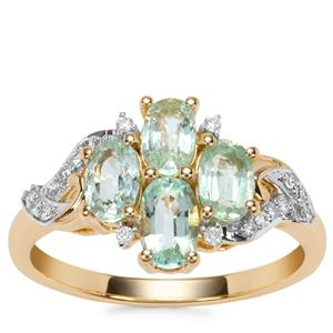 Paraiba Tourmaline Ring with Diamond in 18K Gold 1.34cts