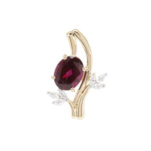 Rajasthan Garnet Pendant with White Zircon in 9K Gold 2.82cts