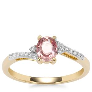 Padparadscha Sapphire Ring with Diamond in 18K Gold 0.73cts