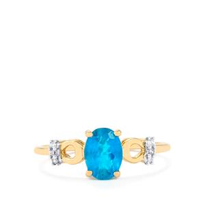 Neon Apatite Ring with Diamond in 10k Gold 1cts