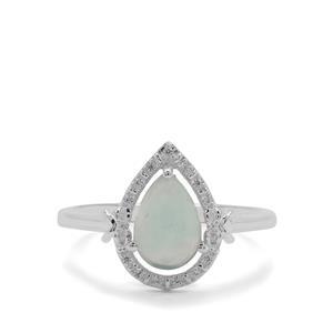 Gem Jelly Aquaprase™& White Zircon Sterling Silver Ring ATGW 1.38cts