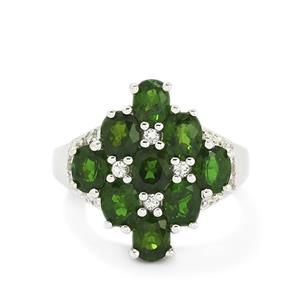 Chrome Diopside & White Topaz Sterling Silver Ring ATGW 4.03cts