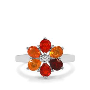 Mexican Fire Opal Ring with White Zircon in Sterling Silver 1.21cts