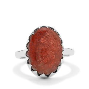 Red Horn Coral Ring in Sterling Silver 7.50cts