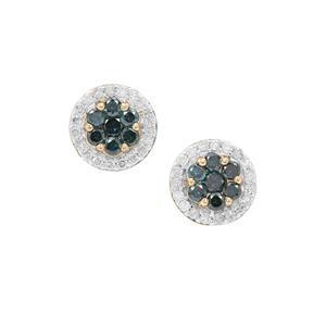 Blue Diamond Earrings with White Diamond in 9K Gold 0.50ct