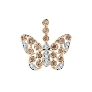 Champagne Diamond Butterfly Pendant with White Diamond in 9K Gold 0.77ct