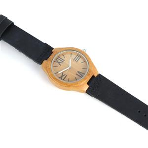 Blue Agate Zebrawood Navy Genuine Leather Strap Watch