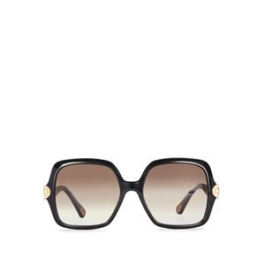 Chloe Large Black Square Frame Sunglasses with Gold Detail