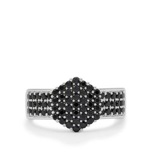 Black Spinel Ring in Sterling Silver 1.25cts