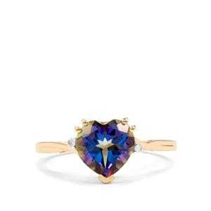 Mystic Blue Topaz & Diamond 9K Gold Ring ATGW 2.21cts