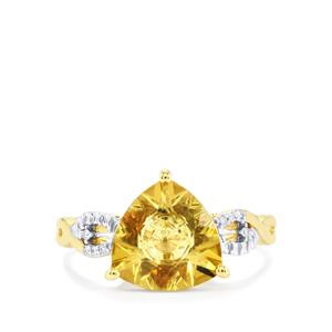 Lehrer KaleidosCut Champagne Quartz, Gouveia Andalusite Ring with Diamond in 10K Gold 2.64cts