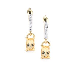 Imperial Topaz & White Zircon 10K Gold Earrings ATGW 1.31cts