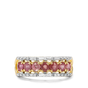 Padparadscha Sapphire & White Zircon 9K Gold Ring ATGW 1.32cts