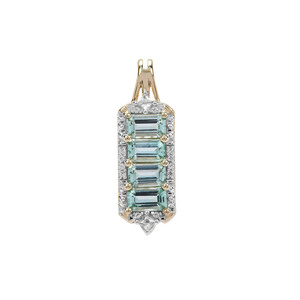 Aquaiba™ Beryl Pendant with White Zircon in 9K Gold 1.20cts