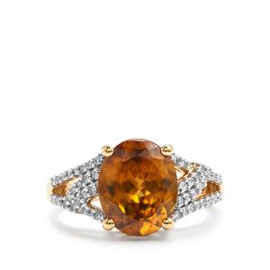 Morafeno Sphene Ring with Diamond in 18k Gold 3.78cts