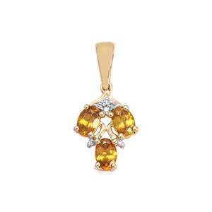 Morafeno Sphene Pendant with Diamond in 9K Gold 1.31cts