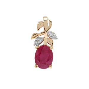 John Saul Ruby Pendant with White Zircon in Gold Plated Sterling Silver 1.70cts