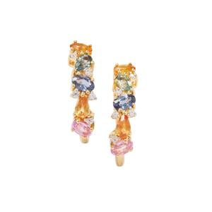 Rainbow Sapphire Earrings with White Zircon in Vermeil 3.06cts