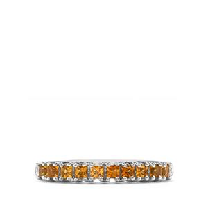 Golden Tourmaline & Diamond Sterling Silver Ring ATGW 0.46cts
