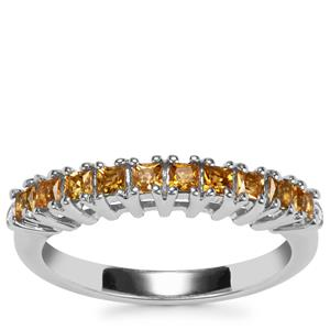 Golden Tourmaline Ring with Diamond in Sterling Silver 0.46ct