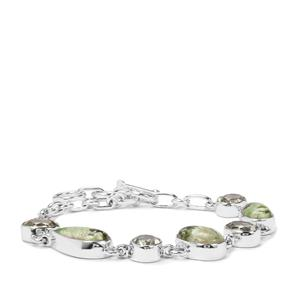Opal Chalcedony Bracelet with Prasiolite in Sterling Silver 19cts