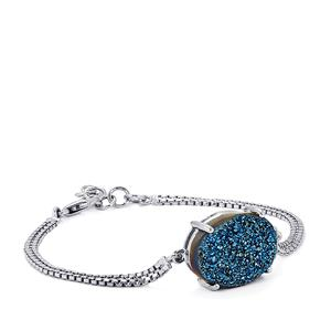 Titanium Blue Drusy Bracelet in Sterling Silver 12.84cts