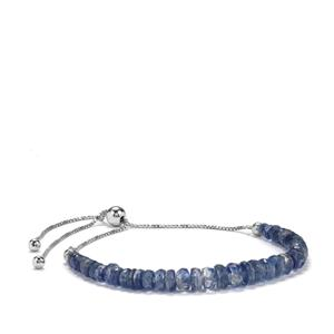 Daha Kyanite Graduated Bead Slider Bracelet in Sterling Silver 22cts