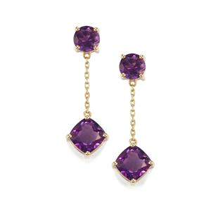 2.85ct Moroccan Amethyst 10K Gold Earrings