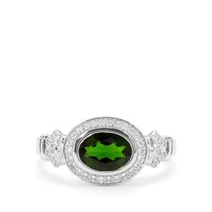 Chrome Diopside & White Zircon Sterling Silver Ring ATGW 1.75cts