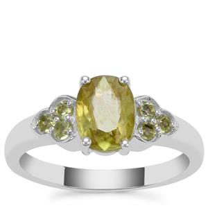 Ambilobe Sphene Ring with Red Dragon Peridot in Sterling Silver 1.47cts